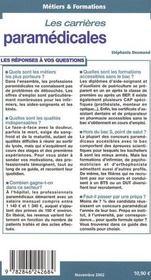 Carrieres paramedicales - 4ème de couverture - Format classique