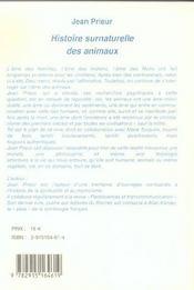 Histoire surnaturelle des animaux - 4ème de couverture - Format classique