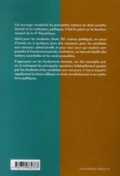 Droit constitutionnel & institutions publiques - 4ème de couverture - Format classique