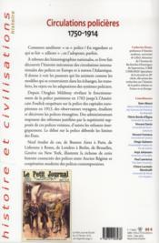 Circulations policières ; 1750 1914 - 4ème de couverture - Format classique