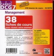 Les carrés DCG 7 ; management 2012-2013 (3e édition) - 4ème de couverture - Format classique