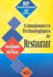 Connaissances Technologiques De Restaurant - Intérieur - Format classique