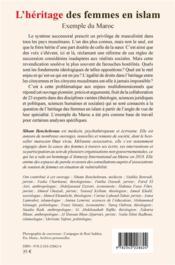 L'héritage des femmes en islam : exemple du maroc - 4ème de couverture - Format classique
