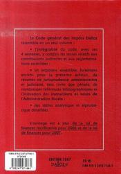 Code General Des Impots (edition 2007) - 4ème de couverture - Format classique