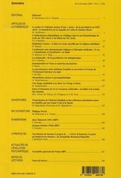 REVUE L'EVOLUTION PSYCHIATRIQUE N.73-1 ; religions - 4ème de couverture - Format classique