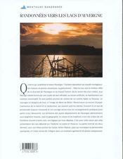 Randonnees vers les lacs d'auvergne - 4ème de couverture - Format classique