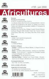 Revue Africultures T.29 - 4ème de couverture - Format classique