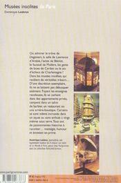 Musees Insolites De Paris - 4ème de couverture - Format classique