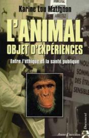 Animal objet d experiences - Couverture - Format classique