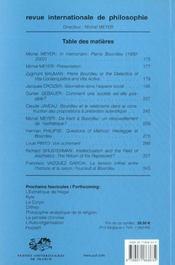 Revue Internationale De Philosophie N.220 ; Pierre Bourdieu Et La Philosophie - 4ème de couverture - Format classique