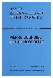 Revue Internationale De Philosophie N.220 ; Pierre Bourdieu Et La Philosophie - Couverture - Format classique