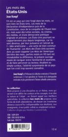 Mots des etats unis - 4ème de couverture - Format classique