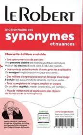 Dictionnaire le Robert des synonymes et nuances ; poche+ - 4ème de couverture - Format classique