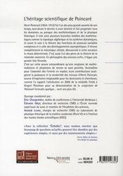 L'héritage scientifique de Poincaré - 4ème de couverture - Format classique