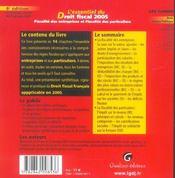 Essentiel du droit fiscal 2005 6e ed. (l') (6e édition) - 4ème de couverture - Format classique