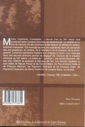 Miroirs, fragments, mosaiques. schemas et creation dans l'art du xxe siecle - 4ème de couverture - Format classique