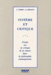 Systeme et critique - Couverture - Format classique