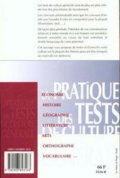 Pratique tests de culture generale. - 4ème de couverture - Format classique