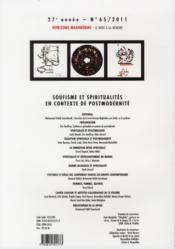 REVUE HORIZONS MAGHREBINS N.65 ; soufisme et spiritualités en contexte de postmodernité - 4ème de couverture - Format classique