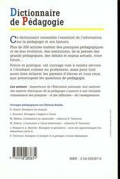 Dict de pedagogie - 4ème de couverture - Format classique