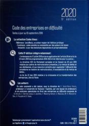 Code des entreprises en difficulté (édition 2020) - 4ème de couverture - Format classique