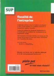 Fiscalite De L'Entreprise - 4ème de couverture - Format classique