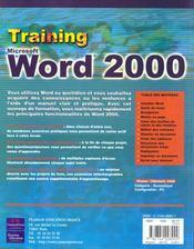 Training Campusspress Word 2000 - 4ème de couverture - Format classique
