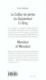 Collier Du Gouverneur Li Qing (Le) - 4ème de couverture - Format classique