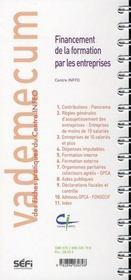 Vademecum ; Financement De La Formation Par Les Entreprises - 4ème de couverture - Format classique