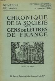 CHRONIQUE DE LA SOCIETE DES GENS DE LETTRES DE FRANCE N°4, 99e ANNEE ( 4e TRIMESTRE 1964) - Couverture - Format classique