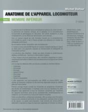 Anatomie de l'appareil locomoteur t.1 - 4ème de couverture - Format classique