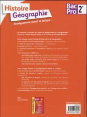 Histoire-géographie EMC ; 2de BAC pro - 4ème de couverture - Format classique