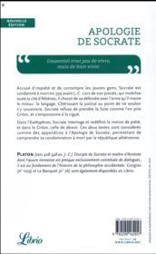 Apologie de Socrate ; Criton et Euthyphron - 4ème de couverture - Format classique