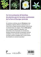 Connaissances botaniques en un coup d'oeil ; 40 familles de plantes d'Europe centrale - 4ème de couverture - Format classique