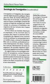 Sociologie de l'immigration - 4ème de couverture - Format classique