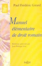 Manuel elementaire de droit romain - Intérieur - Format classique