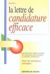 Lettre De Candidature Efficace (La) - Intérieur - Format classique