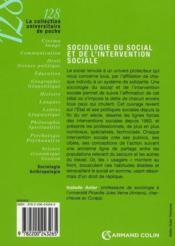 Sociologie du social et de l'intervention sociale ; domaines et approches - 4ème de couverture - Format classique