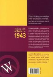 Nous, Les Enfants De 1943 - 4ème de couverture - Format classique