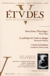 Revue Etudes ; Mars 2012 - Couverture - Format classique