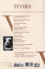 Revue Etudes ; Mars 2012 - 4ème de couverture - Format classique