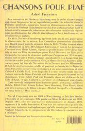 Chansons Pour Piaf ; Norbert Glanzberg, Toute Une Vie - 4ème de couverture - Format classique