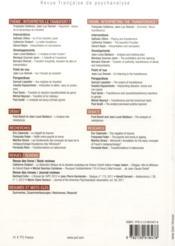 REVUE FRANCAISE DE PSYCHANALYSE N.77/3 ; interpréter le transfert ? - 4ème de couverture - Format classique