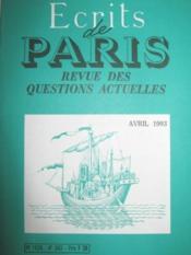 Ecrits de Paris. Revue des questions actuelles. Paraissant tous les mois. N° 543. - Couverture - Format classique