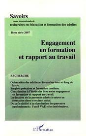 Revue Savoirs ; Engagement En Formation Et Rapport Au Travail - Intérieur - Format classique