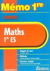 Memo maths 1re es - Intérieur - Format classique