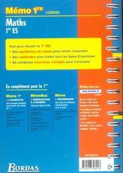 Memo maths 1re es - 4ème de couverture - Format classique