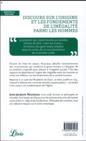 Discours sur l'origine et les fondements de l'inégalité parmi les hommes - 4ème de couverture - Format classique