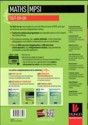 Mathématiques tout-en-un MPSI (5e édition) - 4ème de couverture - Format classique