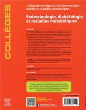 Endocrinologie, diabétologie et maladies métaboliques (4e édition) - 4ème de couverture - Format classique